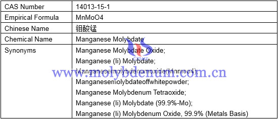 empirical formula, chemical name, synonyms of manganese molybdate image
